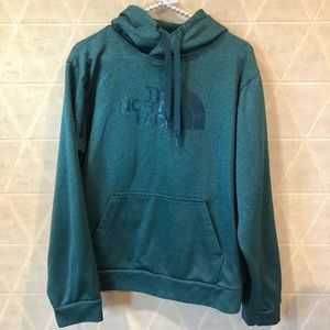 The North Face mens hoodie blue green size M